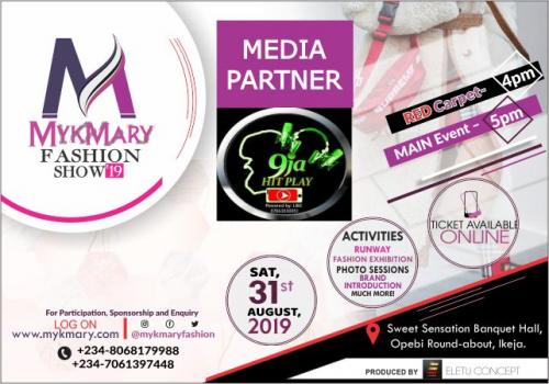 Mykmary Fashion Show 2019 Media Partner 9jahitplay