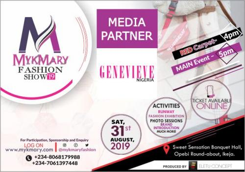 Mykmary Fashion Show 2019 Media Partner Genevieve Nigeria